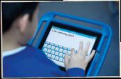 student and iPad